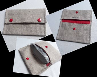 Tobacco pouch simple beige and Red