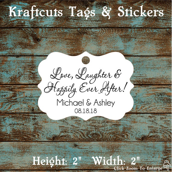 Love Laughter and Happily Ever After Wedding Reception Favor Tags # 672 Qty: 30 Tags