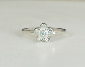 Small Flower Aquamarine Ring, Silver Aquamarine Ring, Flower Ring, Forget Me Not, Flower Jewelry, Sterling Silver Flower Ring, Floral Ring
