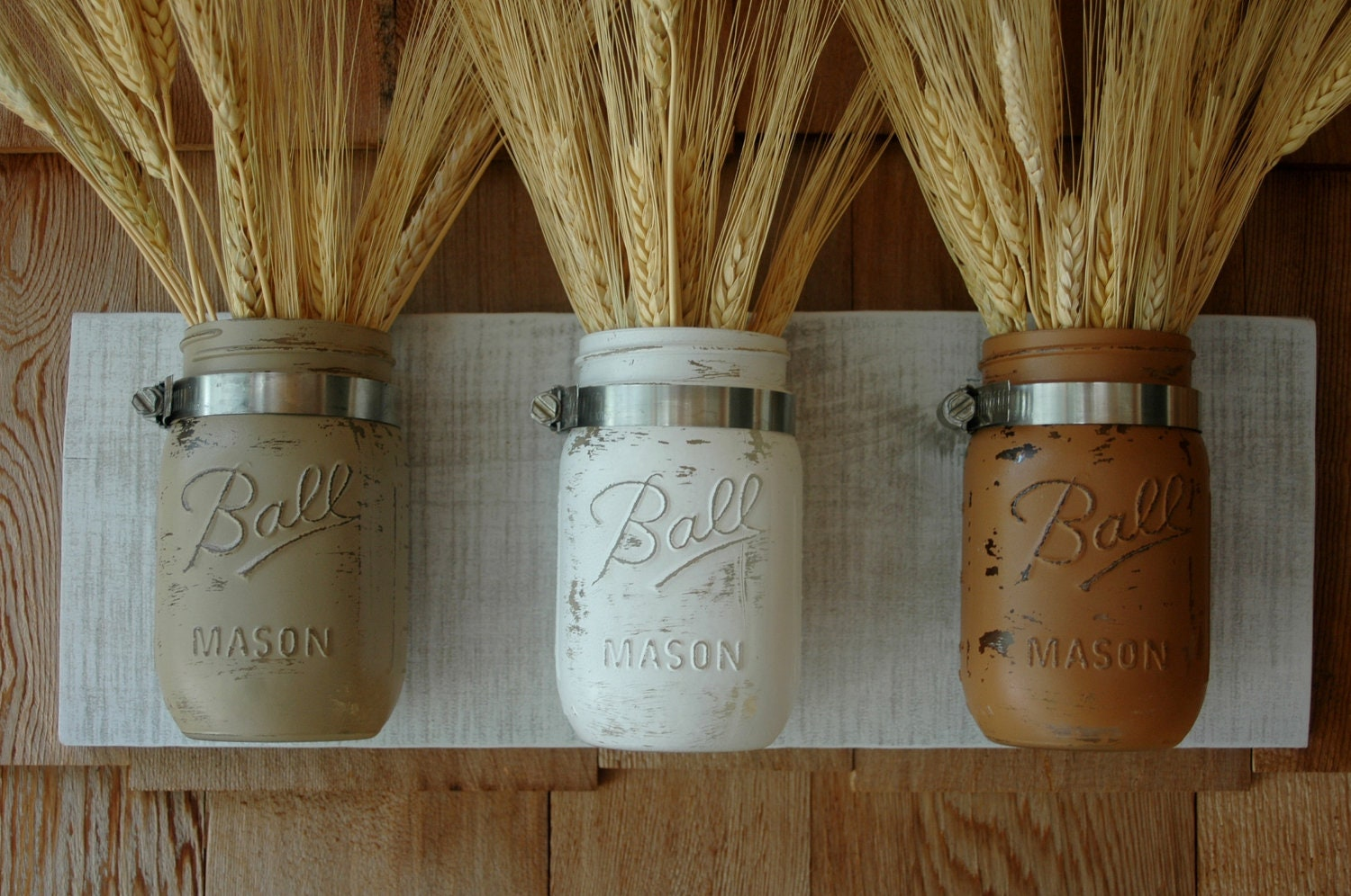 Calming Colors Painted Mason Jars Trio On Whitewashed Recycled
