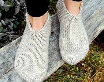 Hand knit wool slippers socks, Hand knit slippers, Knitted Wool Slipper Socks, Knit Indoor Clogs, Christmas Gift