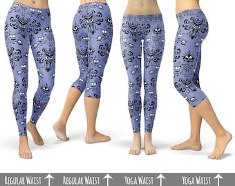 Haunted Mansion Wallpaper - Capri or Full Length, Sports | Yoga | Fleece Leggings in XS-3XL 000751