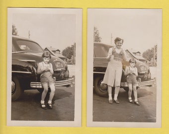 2 vintage snapshot postcards of young girl and large car, circa late 1940's-early 1950's