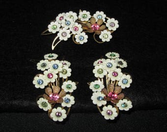 Vintage Emmons 60s Floral Statement Earrings w/Matching Brooch