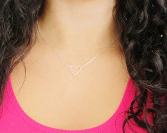 Silver Floating Heart Necklace,  Silver Heart Necklace, Thin Silver Heart, Delicate Heart Necklace, Sterling Silver Heart