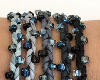 DIY Silk Wrap Bracelet or Silk Cord DIY Kit You Make Five Adult Friendship Bracelets in Stormy Skies Palette