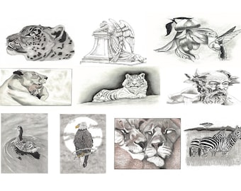 10 Wild Animal Note Card Prints of Original Artwork by Ken Russell