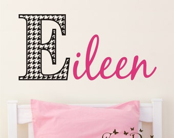 Houndstooth print Monogram Name, Initial and name vinyl decal, nursery, kids & teens room, custom removable decals stickers