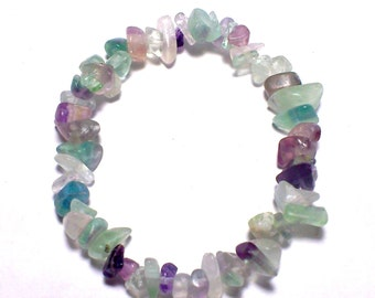 Baroque Elastic Bracelet with  Fluorite rainbow chips stones