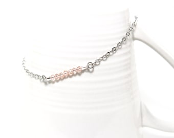 Stainless steel anklet with 7 crystals pink