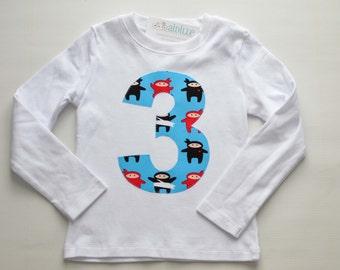 Boys 3rd Birthday Shirt, Size 3T, Ninja Applique Shirt, Number 3 Shirt, Blue Red Black, Ready to Ship, White Long Sleeve, Third Birthday