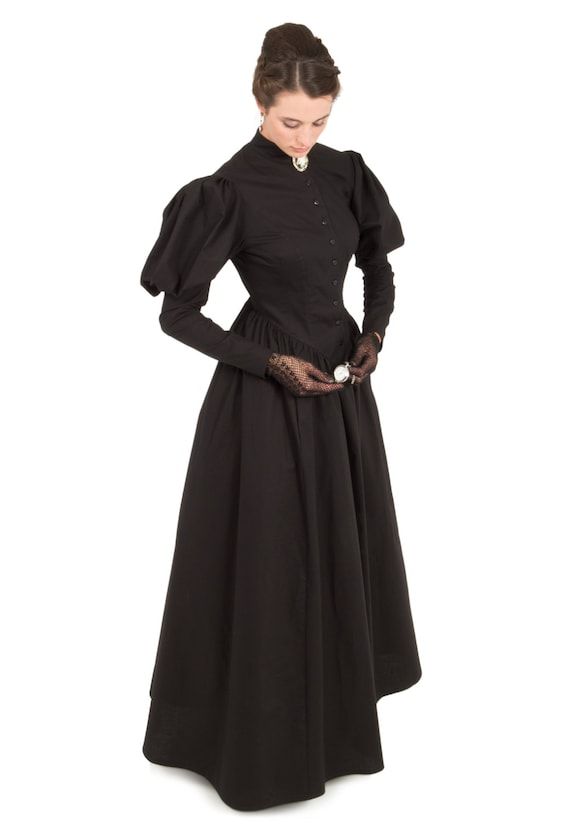 Victorian Dresses, Clothing: Patterns, Costumes, Custom Dresses Victorian Mourning Dress $112.46 AT vintagedancer.com