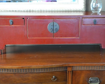 Chinese Ming Kang Cabinet | Antique Red Lacquered Chinese Jewelry Cabinet | Table Top Asian Jewelry Cabinet with Copper Pulls | Red Cabinet