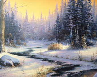 first snow,landscapes,winter,river,oil in canvas