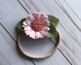 Felt Light Pink Daisy Flower // Headband or Alligator Clip