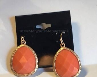 Orange Dangle Earrings, Gold,