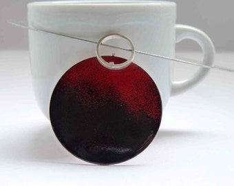 Incompatibility Necklace - Black and red enamels - Sterling silver and copper