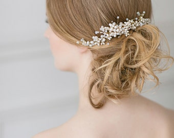 Wedding Hair Comb, Gold Bridal Comb, Large Wedding Hair Comb ,Ivory Pearl Hair Comb , Floral Hair Comb , Hair Accessories for Bride