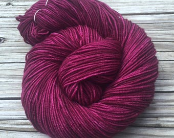 Hand Dyed DK Yarn Song of the Sirens Cranberry Hand Painted yarn 274 yards handdyed dk sport weight Superwash Merino Wool swm magenta purple