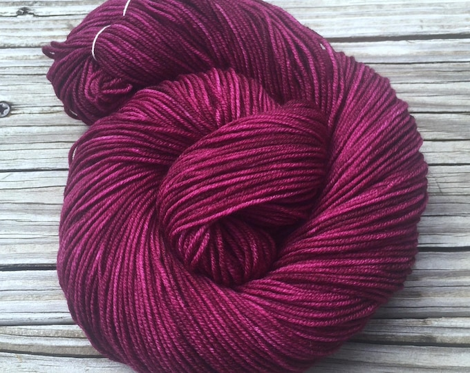 Hand Dyed DK Yarn Song of the Sirens Cranberry Hand Painted yarn 274 yards handdyed dk sport weight Superwash Merino Wool swm magenta purple