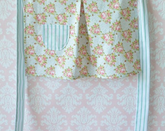 Tea Party Girl's Apron - Half Apron, Child's Apron, Kitchen Play Time, Baking, Green and Pink Floral, English Garden, Roses, Cake Baking