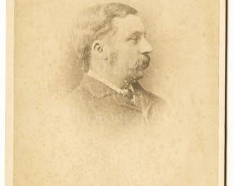Cabinet Card Photo Victorian Mustached Man Profile Portrait - Wilson Grange - Antique Photograph