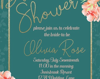bridal Shower, Blush and Teal Floral