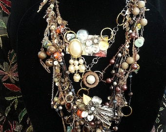 Gemerama, upcycled multi-layered, boho, hippy, vintage, beads, crystals one of a kind,  art deco