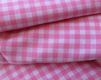 fabric 100% cotton pink and white gingham