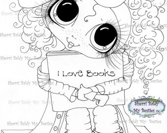 INSTANT DOWNLOAD Digital Digi Stamps Big Eye Big Head Dolls Digi  Img941 I Love Books  By Sherri Baldy