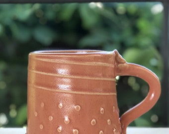 Terracotta Red-Orange color Stoneware Mug with Impressed Pattern of Dots and Lines and Copper Oxide wash - 10 ounce