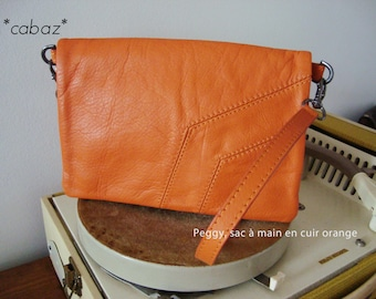 Leather clutch purse, orange,