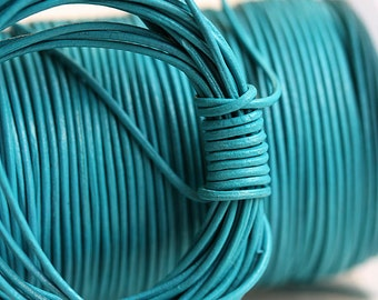 1mm Round Natural Leather cord - Turquoise Blue - 10 feet, LC045