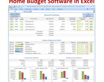 Excel budget spreadsheet template and checkbook register software.  Budgeting Software.  Personal finance spreadsheet.  Digital Download.