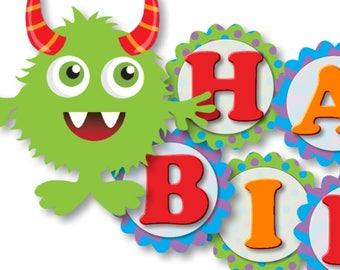 Little Monster Birthday Decorations Banner - invitation banner invite sign decor centerpiece favors