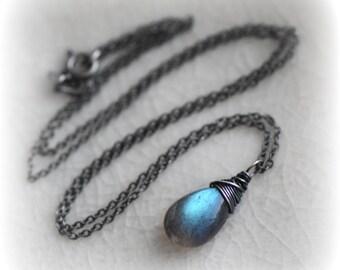 Pendants etsy uk labradorite necklace blue labradorite pendant oxidised silver jewelry gift small labradorite necklace aloadofball Gallery