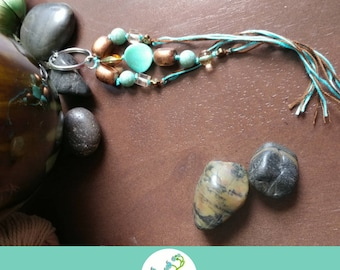 """Large Keychain/Bag Clip """"Pebbles"""" (Turquoise/Bronze)-*Ready to Ship*"""