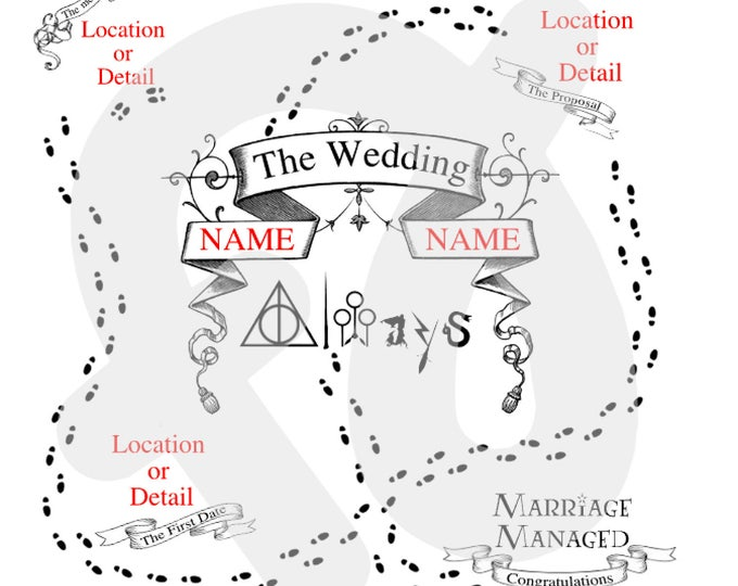 Personalized Harry Potter Maurader's Map inspired pop-up wedding card