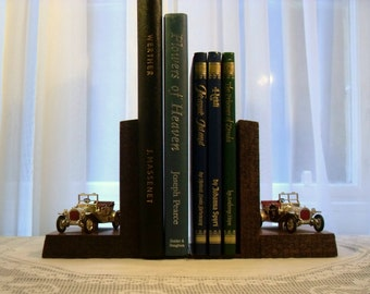 Oak Vintage Car Bookends, Veteran Car Bookends, Wooden Bookends.