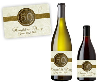 50th Anniversary Party Favors  - Gold  50th Wedding Anniversary Wine Labels - Champagne Labels - Golden Anniversary Party Decor - Custom