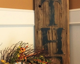 Rustic GATHER Sign on Reclaimed Barn Wood (Vertical)