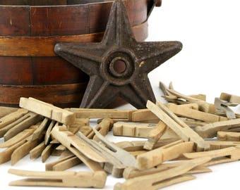 Vintage Wooden Flat Clothespins, Bundle of 12 Wood Clothespins, Laundry Wood Clothes Pegs, Rustic Primitive Decor, Doll Craft, DIY Supply
