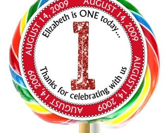 1st Birthday Stickers, Lollipop Stickers, First Birthday Party, Extra Large Personalized Stickers, Fit on WHIRLY LOLLIPOPS