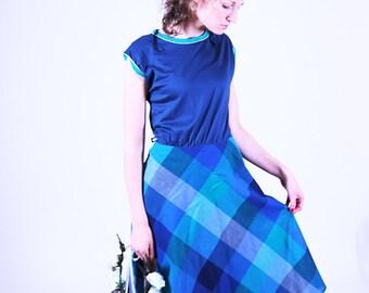 Blue vintage dress, women dress, plaid summer dress, spring dress, M, 38, midi dress, short sleeve dress (GP89)