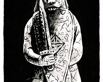 Lewis Chessmen - Rook piece original ink drawing
