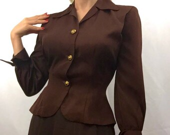 1940s Brown Faille Jacket