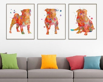 Pug Watercolor Art Print, Pug Painting, Set of 3 Prints, Pug Wall Art, Pug Wall Decor, Dog Lover Gift, Pug Poster, Watercolor Art, Gift Idea