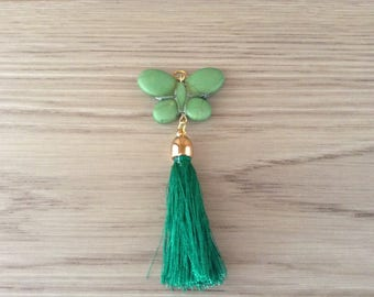 Tassel with gold metal cap and howlite Butterfly pendant