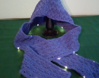 Crocheted Scarf with Hood and Lights- Purple