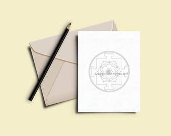 Greeting Cards to Color In - Printable Coloring Card Download -  7 x 5 Card - Original Designs #27